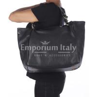 Borsa donna ELODY a spalla in vera pelle morbida, Colore NERO, DELIA REI, Made in Italy