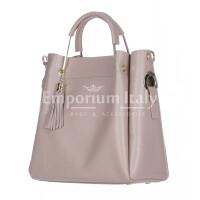 Borsa donna KAROLINA a spalla in vera pelle rigida, colore ROSA, CHIARO SCURO, Made in Italy