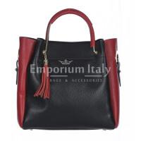 Borsa donna KAROLINA a spalla in vera pelle rigida, colore NERO/ROSSO, CHIARO SCURO, Made in Italy
