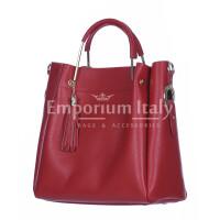 Borsa donna KAROLINA a spalla in vera pelle rigida, colore ROSSO,  CHIARO SCURO, Made in Italy