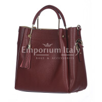 Borsa donna KAROLINA a spalla in vera pelle rigida, colore BORDEAUX, CHIARO SCURO, Made in Italy