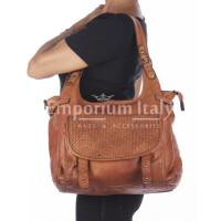 Borsa donna TINA a spalla in vera pelle morbida, colore MIELE, VINTAGE, CHIARO SCURO, Made in Italy