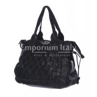 Borsa donna ASIA a spalla in vera pelle morbida, colore NEROVINTAGE, CHIAROSCURO, Made in Italy