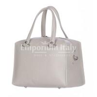 Borsa donna SOFIA a mano in vera pelle rigida, colore GRIGIO, CHIARO SCURO, Made in Italy