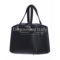 Borsa donna SOFIA a mano in vera pelle rigida, colore NERO, CHIARO SCURO, Made in Italy