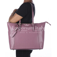 Rigid saffiano leather shoulder bag for woman, AMBRA, ANTIQUE PINK, SANTINI, MADE IN ITALY
