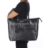 Rigid saffiano leather shoulder bag for woman, AMBRA, BLACK, SANTINI, MADE IN ITALY
