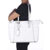 Rigid saffiano leather shoulder bag for woman, AMBRA, WHITE, SANTINI, MADE IN ITALY
