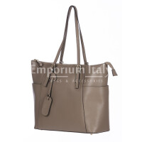 Rigid saffiano leather shoulder bag for woman, AMBRA, TAUPE, SANTINI, MADE IN ITALY