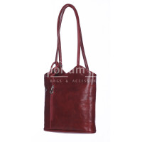 Borsa zaino donna MONTE ARGENTERA in vera pelle tamponata, colore BORDEAUX, RINO DOLFI, Made in Italy