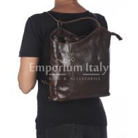 Borsa zaino donna MONTE ARGENTERA in vera pelle tamponata, colore TESTA DI MORO, RINO DOLFI, Made in Italy