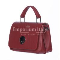 Borsa a mano donna EVELIN, in vera pelle di cervo, colore ROSSO, DELIA REI, Made in Italy