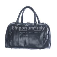 Borsa viaggio NILO SMALL in vera pelle primo fiore, colore NERO, RINO DOLFI, made in Italy