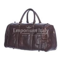 Borsone viaggio ADDA in vera pelle colore TESTA MORO, RINO DOLFI, Made in Italy.