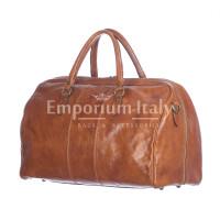 Borsone viaggio NILO MAXI in vera pelle colore MIELE, RINO DOLFI, Made in Italy.