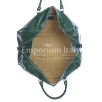Borsa viaggio NILO SMALL in vera pelle primo fiore, colore VERDE, RINO DOLFI, made in Italy