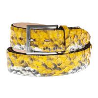 Cintura uomo BEIRUT C21, vera pelle pitone certificato CITES, colore GIALLO, ELIO ZAGATO, Made in Italy
