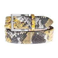 Cintura uomo BEIRUT C22, vera pelle pitone certificato CITES, colore GIALLO/MARRONE, ELIO ZAGATO, Made in Italy