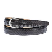Python belt GRADARA, CITES certified, BLACK, RINO DOLFI, Made in Italy