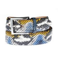 Cintura uomo BEIRUT C24, vera pelle pitone certificato CITES, colore AZZURRO/NERO/GIALLO/BIANCO, ELIO ZAGATO, Made in Italy