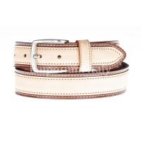 Cintura uomo in vera pelle MONTECCHIO, colore BEIGE/MARRONE, RINO DOLFI, Made in Italy