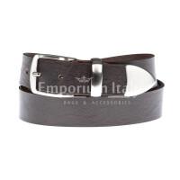 FIUMICINO: cintura uomo in cuoio, colore: TESTA MORO, Made in Italy