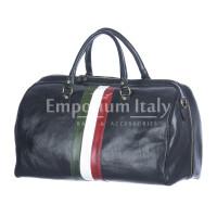 Borsone da viaggio in vero cuoio con tricolore italiano COMO MAXI, colore BLU, RINO DOLFI, MADE IN ITALY