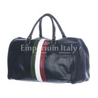 Borsone da viaggio in vero cuoio con tricolore italiano COMO SMALL, colore BLU, RINO DOLFI, MADE IN ITALY