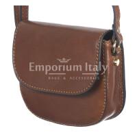 Borsa a tracolla da donna in vera pelle primo fiore, CASSANDRA, colore MARRONE, CHIARO SCURO, MADE IN ITALY