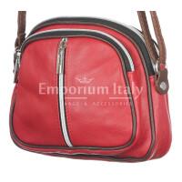 Borsa a tracolla da donna in vera pelle primo fiore, GIUSY, colore RED, CHIARO SCURO, MADE IN ITALY
