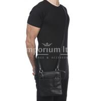 LINO : tracolla uomo in cuoio, colore : NERO, Made in Italy