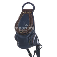 Borsa zaino donna in vera pelle MONTE HALLA, colore BLU SCURO/MARRONE, EMPORIO TITANO, MADE IN ITALY