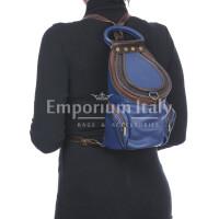 Borsa zaino donna in vera pelle MONTE HALLA, colore BLU/TESTA MORO, EMPORIO TITANO, MADE IN ITALY