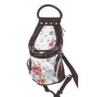 Borsa zaino donna in vera pelle MONTE HALLA, colore BIANCO/MARRONE/FANTASIA FLOREALE, EMPORIO TITANO, MADE IN ITALY