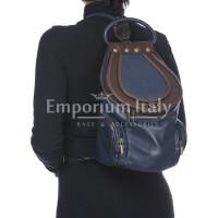 Borsa zaino donna in vera pelle MONTE HALLA MAXI colore BLU/MARRONE, EMPORIO TITANO, MADE IN ITALY