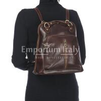 Borsa zaino donna in vera pelle MONTE CRISTALLO, colore TESTA DI MORO, MAESTRI, MADE IN ITALY