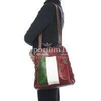 Borsa zaino donna in vera pelle MONTE CRISTALLO, TRICOLORE BANDIERA ITALIANA, colore VERDE/BIANCO/ROSSO, MAESTRI, MADE IN ITALY