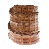 Cintura donna in vera pelle di coccodrillo GIZA, certificato CITES, colore MIELE, SANTINI, MADE IN ITALY