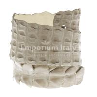 Cintura donna in vera pelle di coccodrillo GIZA, certificato CITES, colore CHAMPAGNE, SANTINI, MADE IN ITALY