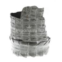 Cintura donna in vera pelle di coccodrillo GIZA, certificato CITES, colore GRIGIO, SANTINI, MADE IN ITALY