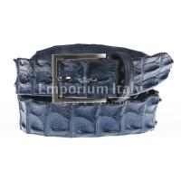 Genuine alligator skin belt for man JOHANNENSBURG, BLUE colour, SANTINI, MADE IN ITALY