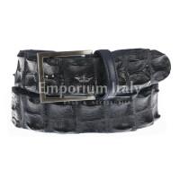Genuine alligator skin belt for man JOHANNENSBURG, CITES certified, DARK BLUE colour, SANTINI, MADE IN ITALY
