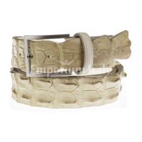 Genuine alligator skin belt for man JOHANNENSBURG, CITES certified, CHAMPAGNE colour, SANTINI, MADE IN ITALY