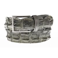 Genuine alligator skin belt for man JOHANNENSBURG, CITES certified,, GREY colour, SANTINI, MADE IN ITALY