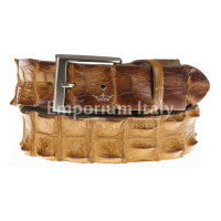 Genuine alligator skin belt for man JOHANNENSBURG, CITES certified, HONEY colour, SANTINI, MADE IN ITALY