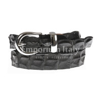Genuine alligator skin belt for woman DURBAN, CITES certified, BLACK colour, SANTINI, MADE IN ITALY