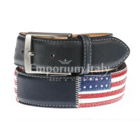 WASHINGTON: cintura uomo in cuoio, bandiere, colore: NERO/ BLU / MULTICOLOR, Made in Italy