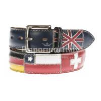 Cintura uomo in vera pelle BRISIGHELLA, colore BLU, fantasia con bandiere nazioni, SANTINI, MADE IN ITALY
