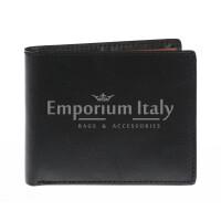Portafoglio da uomo in vera pelle CAMBOGIA, colore NERO/MIELE, EMPORIO TITANO, MADE IN ITALY