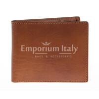 Portafoglio da uomo in vera pelle CAMBOGIA, colore MIELE/TESTA DI MORO, EMPORIO TITANO, MADE IN ITALY